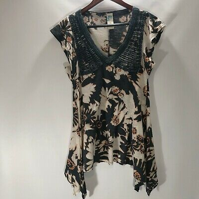 Anthropologie C Keer Knit Top V Neck Cap Sleeve Cotton Floral Print Size S Small