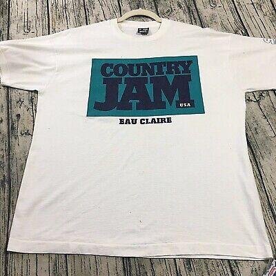 Country Jam 1995 Vtg Best Graphic T-Shirt Sz XL White Single Stitch Street Staff