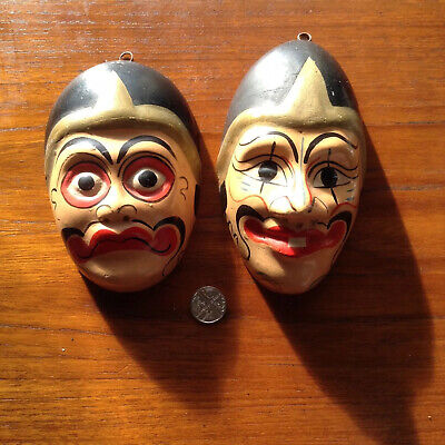 Vintage 2 Small South East Asian? Ornamental Plaster Chalkware Wall Face Masks