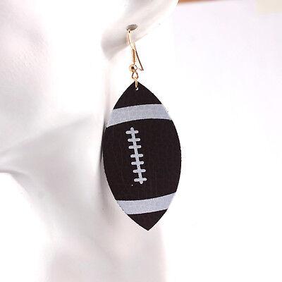 Baseball Print American Football Shaped Brown Leather Earrings Christmas Gifts - Baseball Christmas