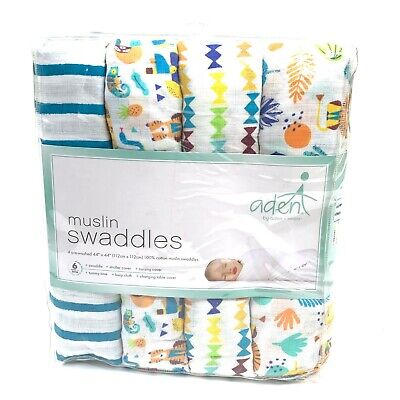 Aden + Anais Classic Swaddle Baby Blanket Going Bananas 4 Pack 100% Cotton