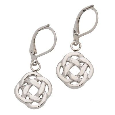 High Polished Stainless Steel Celtic Knot Dangle Earrings, Love Knot - Knot Dangle