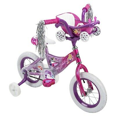 Huffy Disney Princess Kid's Bike 12 inch, Pink/Purple with Carriage NEW