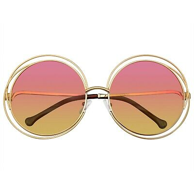 Round Sunglasses Double Wire Big Oversize Boho Circle Lens Sunglasses (Wire Circle Frame)