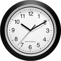 Analog Atomic Wall Clock Home Decorative Clocks Accurate Self Setting Silver Blk