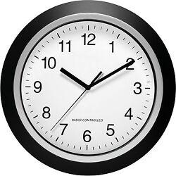 Analog Atomic Wall Clock Home Decorative Clocks Accurate Self Setting Silver Blk