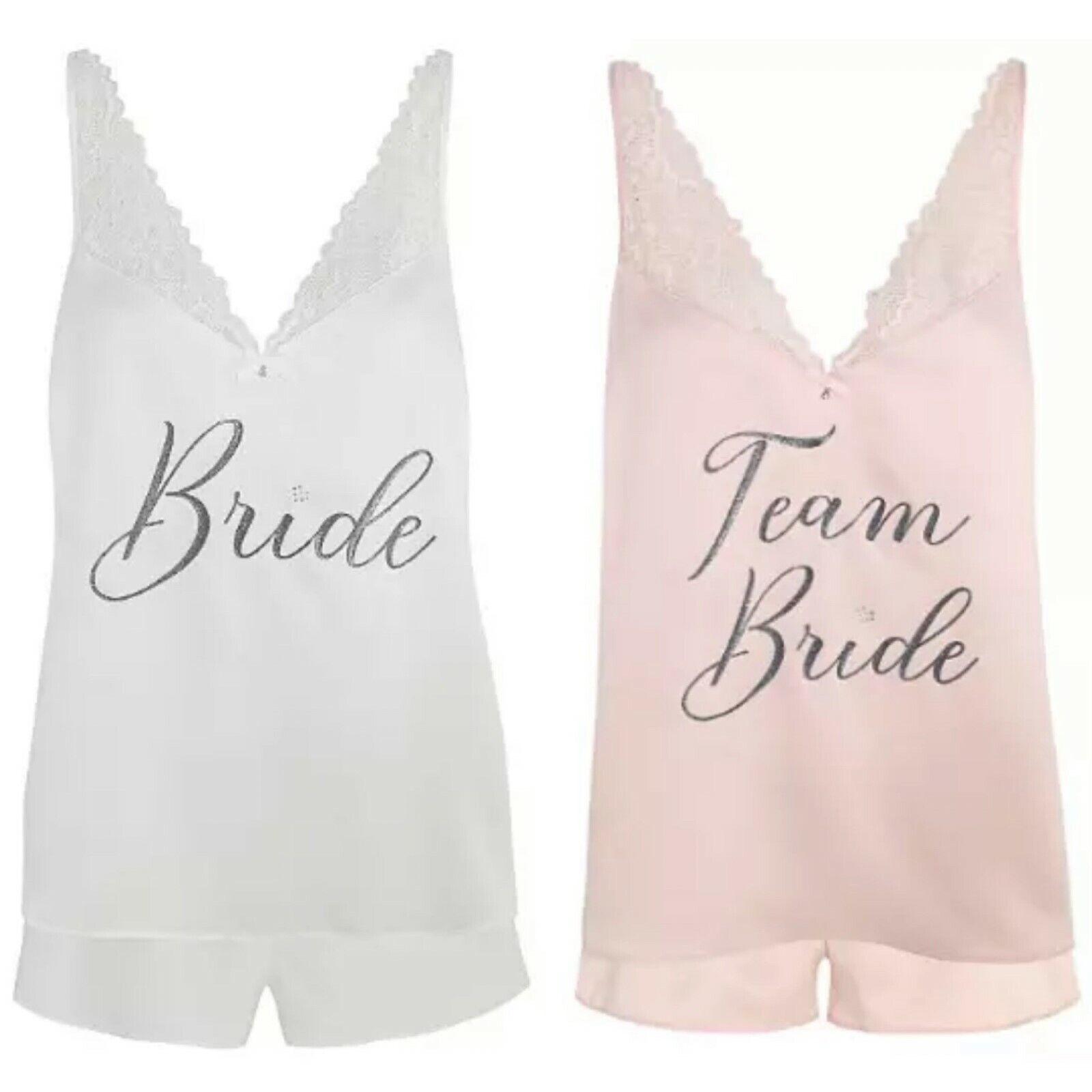 WEDDING PYJAMA SET Bride / Team Bride Hen Party George Shorts Top Lace Glitter