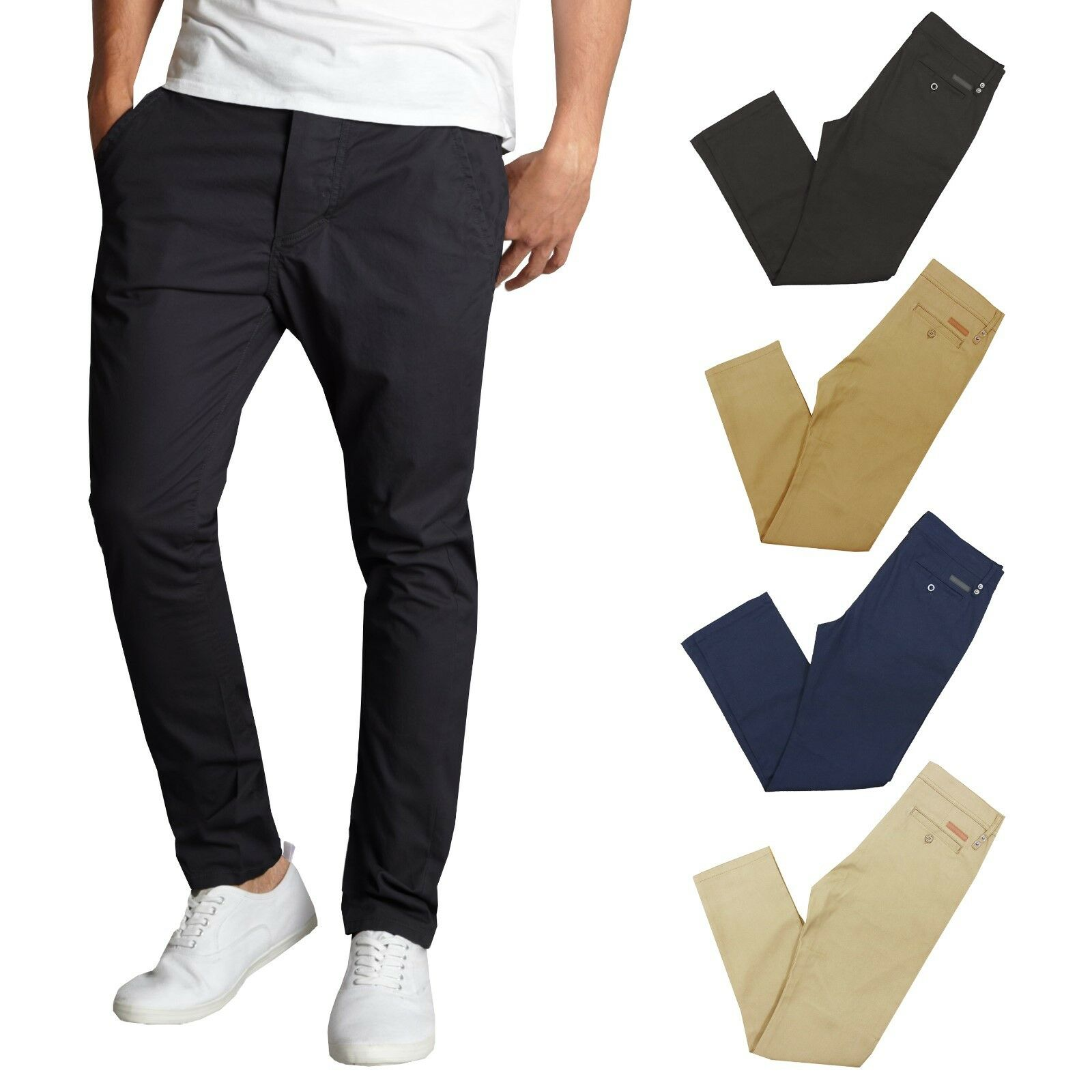 Mens Chino Pants Cotton Stretch Slim Fit Belt Zip Fly Trouser Casual Work School Clothing, Shoes & Accessories
