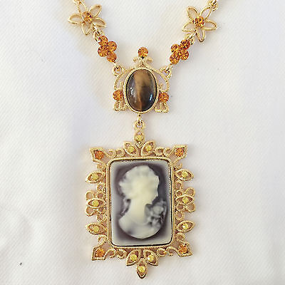 New Vintage Style Lady Cameo Flower Tigers Eye Golden Chain Necklace Gift NE1267