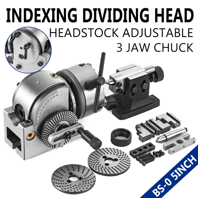 "BS-0 Semi 5"" Indexing Dividing Spiral Head Chuck Tailstock CNC Milling Precision"