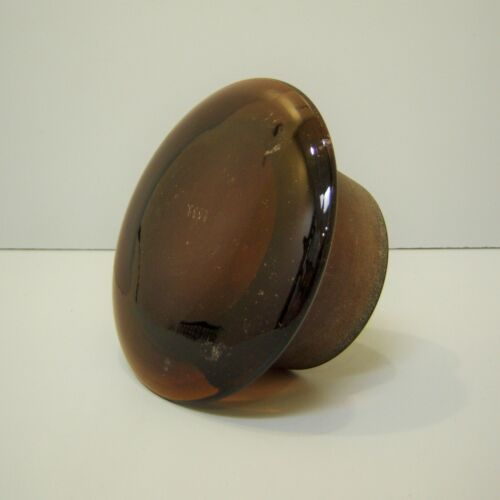 """Vintage Unusual 7"""" Hand Blown Lid Glass Canister Jar Apothecary Amber Brown"""