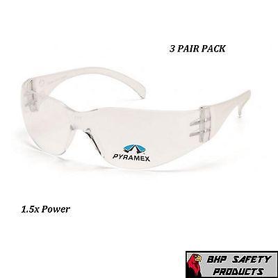 3 Pair Pyramex Intruder Reader Safety Glasses Clear Bifocal 1.5 Lens S4110r15