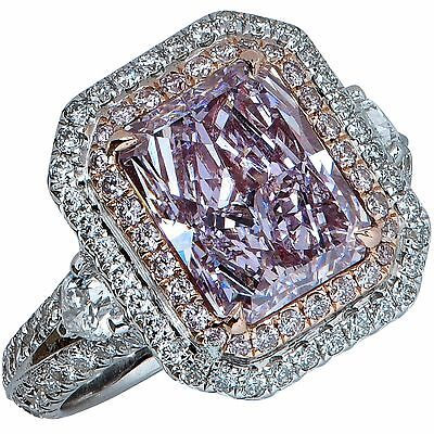 Stunning GIA Graded 3.34 Carat Fancy Pinkish Purple Diamond Engagement Ring