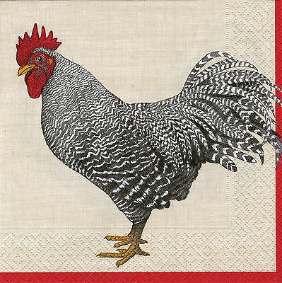 Ivory Le Coq Rooster cockerel paper napkins traditional english 20 in pack