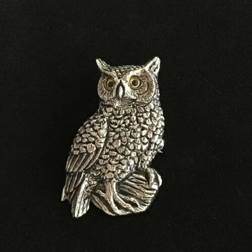 Sterling Silver Victorian Antique style wise owl bird brooch pin 2in1 Pendant