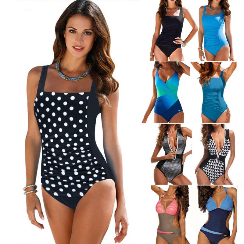 Damen Einteiler Bikini Monokini Push Up Badeanzug Bademode Tankini Schwimmanzug