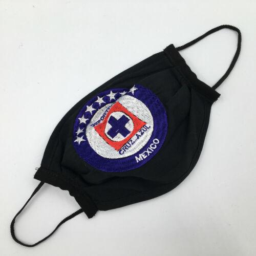 Handmade Embroidered Fabric Mexican Cruz Azul Face Mask - Cubrebocas - Topabocas