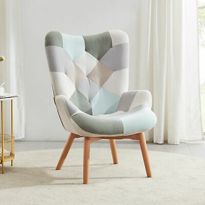 Multicolor Accent Chair / Rocking Chair Patchwork Linen Tufted W/ Wooden Legs
