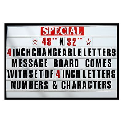 4 Big Changeable Letter Message Sign Menu Price Marquee Reader Board 48x 32