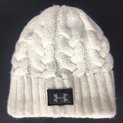 Under Armour Women's Knitted Lined Ivory Beanie Hat | One Size Fits All