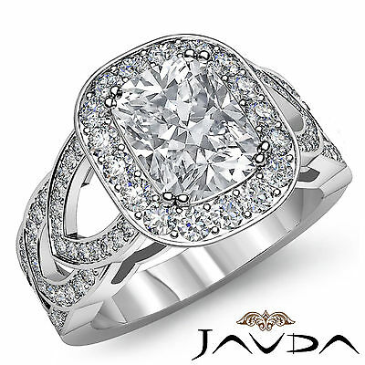 V Shaped Split Shank Pave Set Cushion Diamond Engagement Ring GIA G SI1 2.25Ct