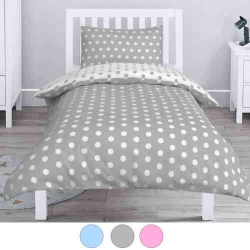 Polka Dot 100% Cotton Baby Kids Cot Crib Pram Duvet Cover Pillowcase Bedding Set