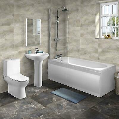 Complete Shower Bathroom Suite Toilet & Basin Thermostatic Shower Panels & Waste