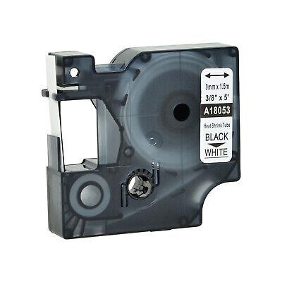 Black On White 18053 For Dymo Rhino 1000 5200 Heat Shrink Tube Label Tape 9mm