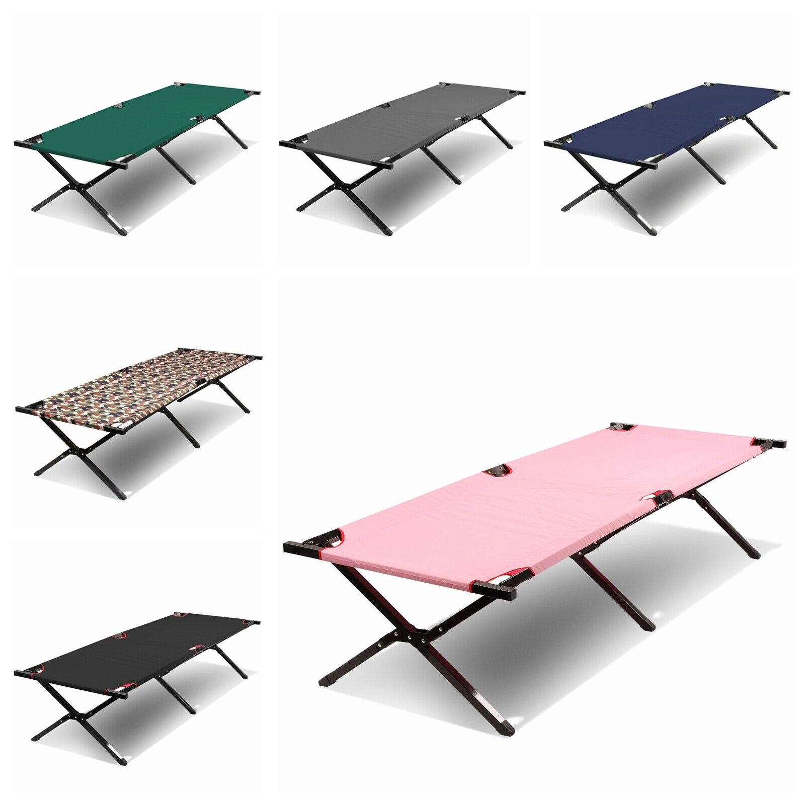 "74"" Lightweight Portable Folding Camping Hiking Cot Sleep Be"