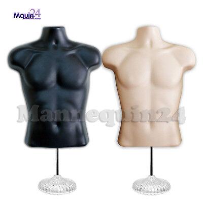 Black Flesh Male Mannequin Torsos Set 2 Stands 2 Hangers Mens Dress Forms