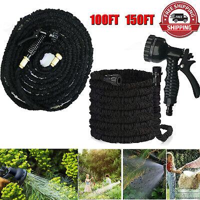 BLACK Extra Long Retractable Expandable Magic Garden Hose Pipe & Spray Gun UK