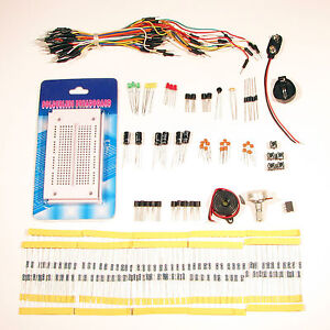 Electronics projects starter kit with breadboard