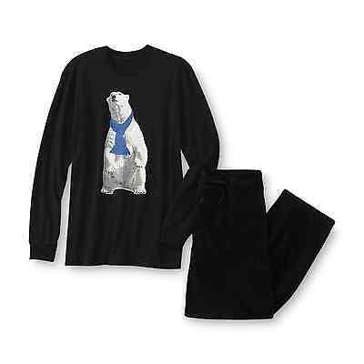 Schwarze Fleece Pyjama-hosen (Joe Boxer Pyjama Hemd & Fleece Pyjama Hose Eisbär für Erwachsene, Großes Neu W/)