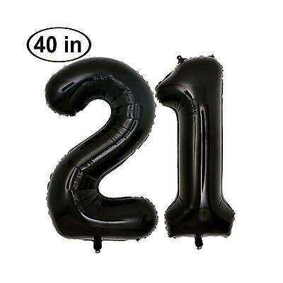 KIYOOMY 40 in Big Number 21 Balloon Black Gaint Jumbo 21th Foil Mylar Number ... - Big 21 Balloons