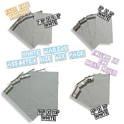 40 White Poly Mailers 4 Mix Size Variety Pack 10 Ea