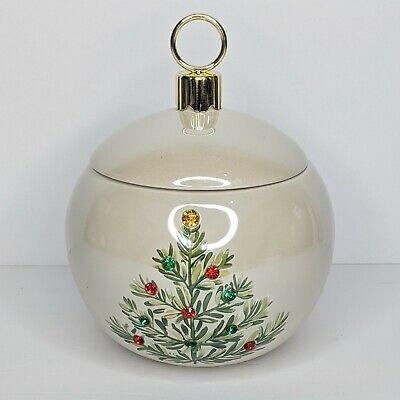 TELEFLORA Christmas Planter Ceramic Ornament Candy Dish w/ Lid Rhinestones Tree