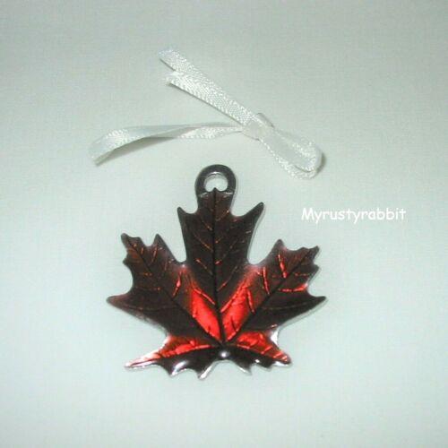 Longaberger Red Enamel Leaf Tie-On - Pewter Metal Fall Harvest -  NEW