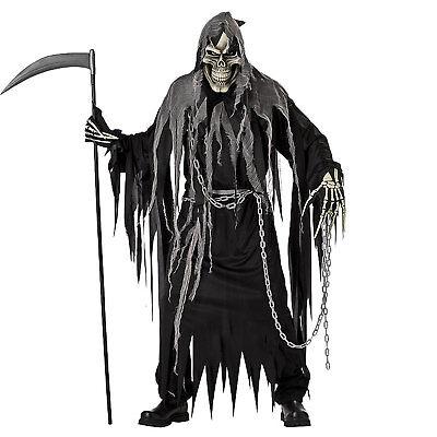 Adult Men's Mr. Grim Reaper Death Skull Skeleton Halloween Costume Black Robe