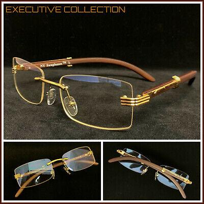 Herren Classy Anspruchsvolle Elegante Klare Gläser Randlos Gold Holz-Rahmen