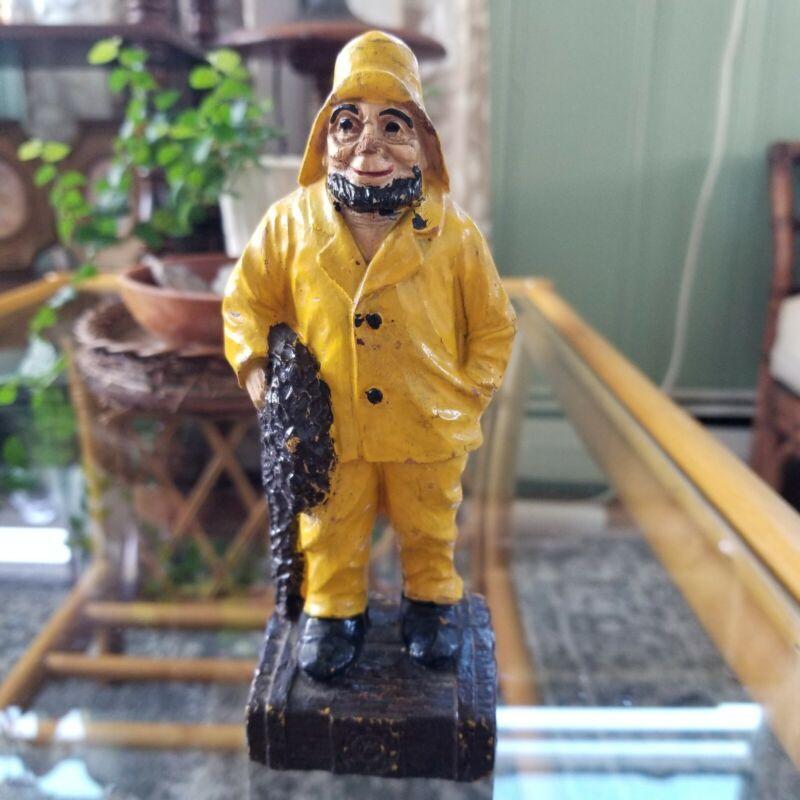 Vintage Syroco Wood Figurine Fisherman Captain Nautical Decor