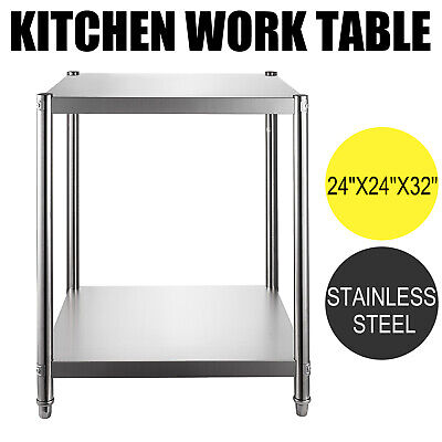 Rolling Stainless Steel Top Kitchen Work Table Cart Casters Shelving 24x24