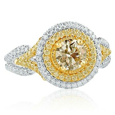GIA Certified 1.59 Ct Yellow VS1 Round Diamond Engagement Ring 18k White Gold