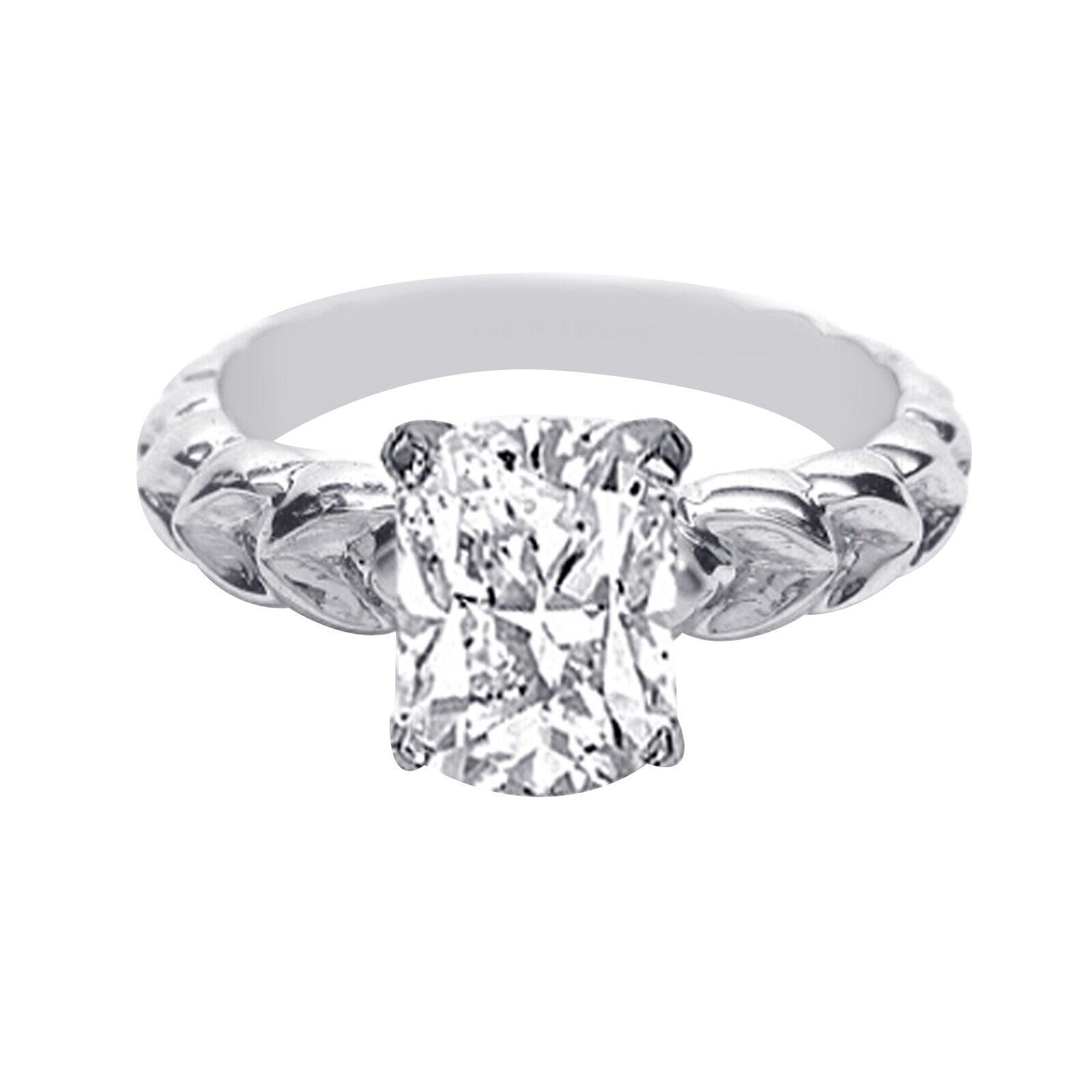 GIA Certified Diamond Engagement Ring 0.70 carat Cushion Cut 18k White Gold