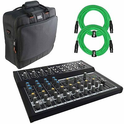 Mackie Mix12FX 12-Channel Compact Effects Mixer with Green Cables & Carry Bag Mackie Powered Mixer Bag