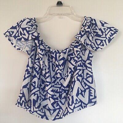 Womens Short Sleeve Crop Top Zara TRF Blue White Geoprint S