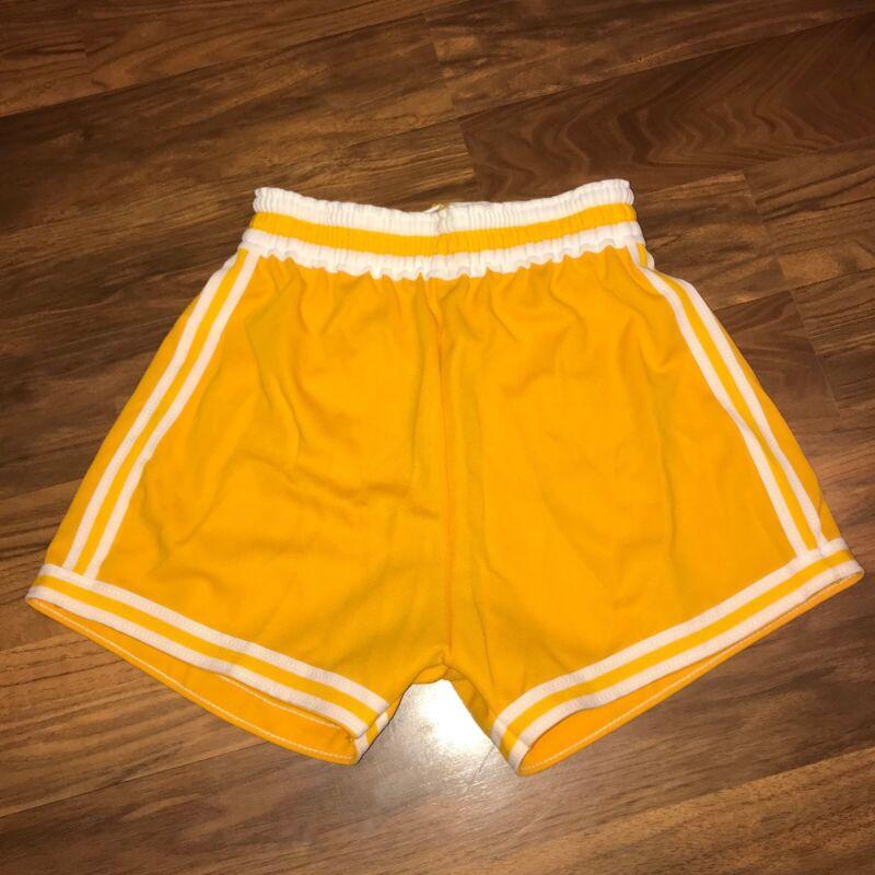 NEW Vtg 70s SB Athletic YELLOW Striped Basketball MEDIUM Track jersey gym shorts