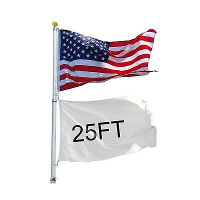 Yeshom 25ft Telescopic 16 Gauge Aluminum Flag Pole 3'x5' US Flag Ball Top Kit...