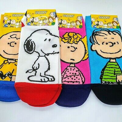 Peanuts Snoopy Charlie Brown Lucy Ankle Socks Low Cut For Shoe Size 6-11 4 Pairs