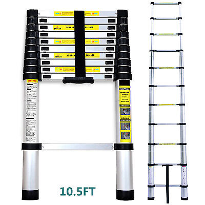 10.5FT Multi Purpose Aluminum Ladder Fold Step Telescopic Extend Garden Tools