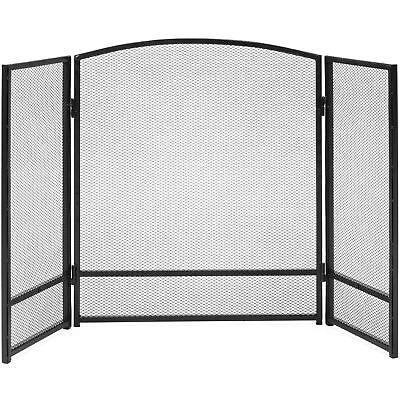 Black 3 Panel Folding Steel Fireplace Mesh Screen Fire Guard Rustic Worn Finish